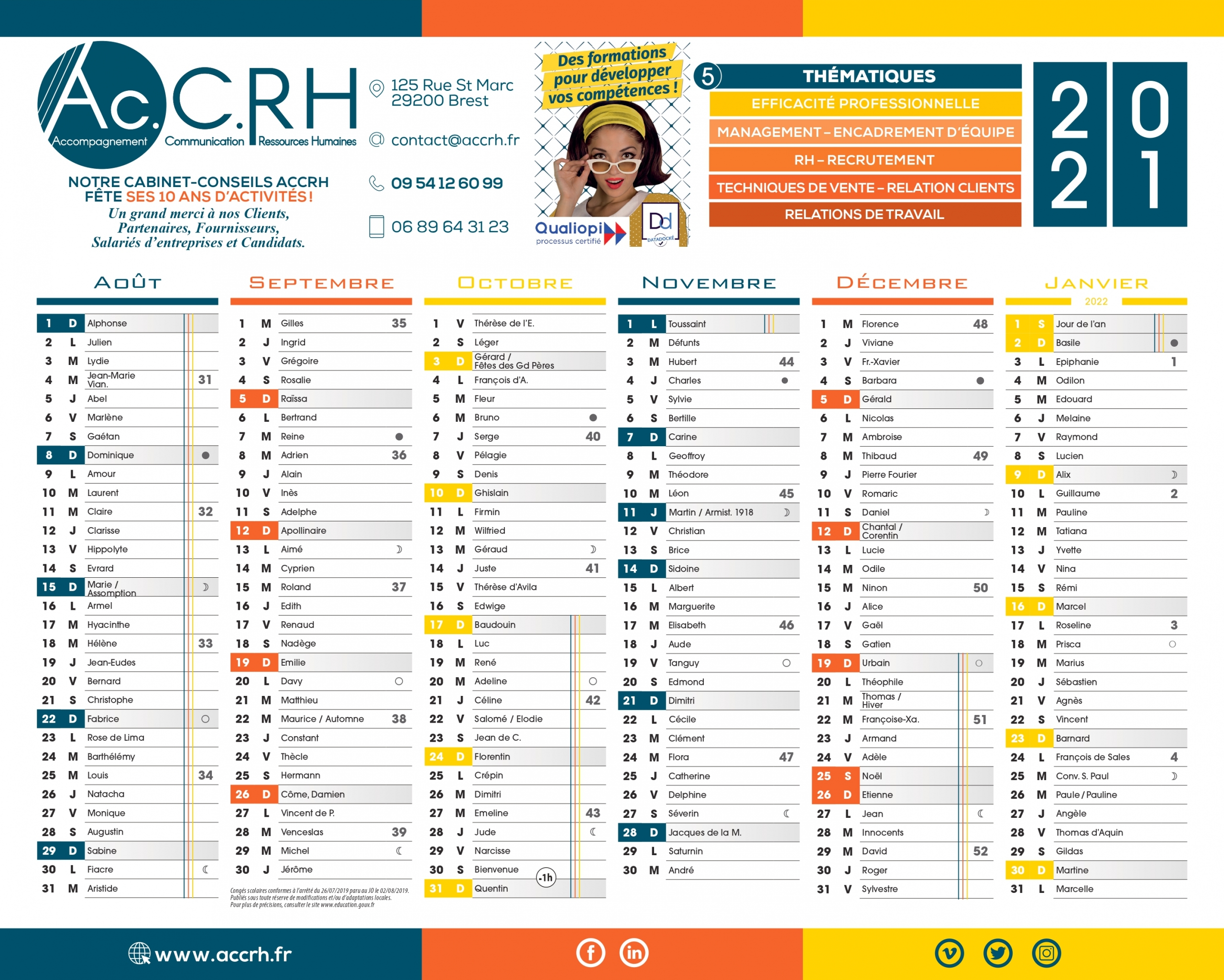 calendrier 2021 ACCRH